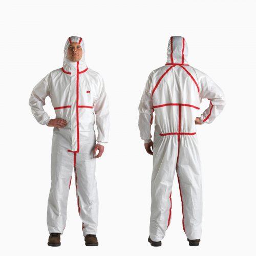 3Μ-4565 Υψηλών προδιαγραφών φόρμα τύπου ΤYVEK ολόσωμη με κουκούλα. Με πλεκτές μανσέτες και διπλό φερμουάρ. Για χημικές ουσίες και επιπλέον προστασία από μεταδοτικές ασθένειες.